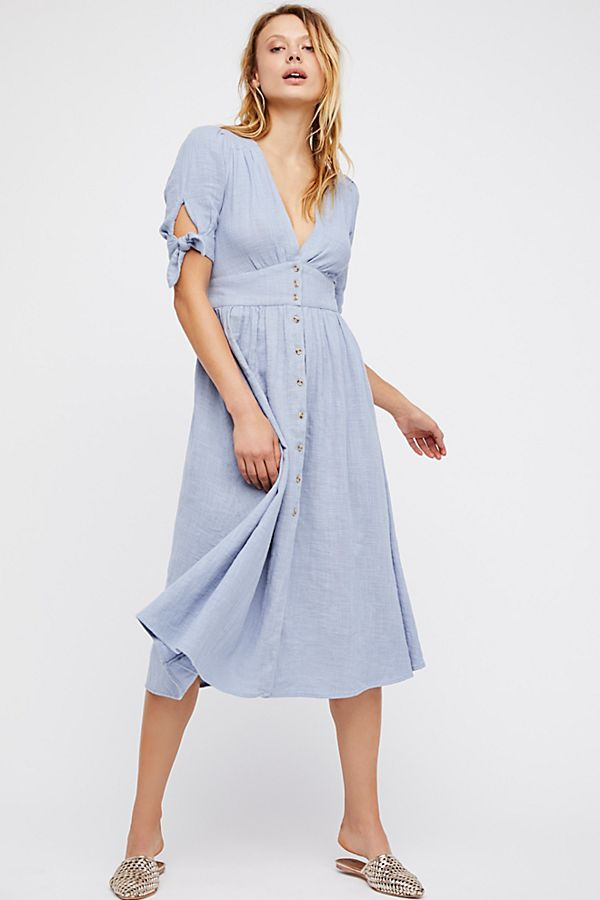 f23128d82057 Love Of My Life Midi Dress Chambray Skies (blue button short sleeve) $108 |  Free People