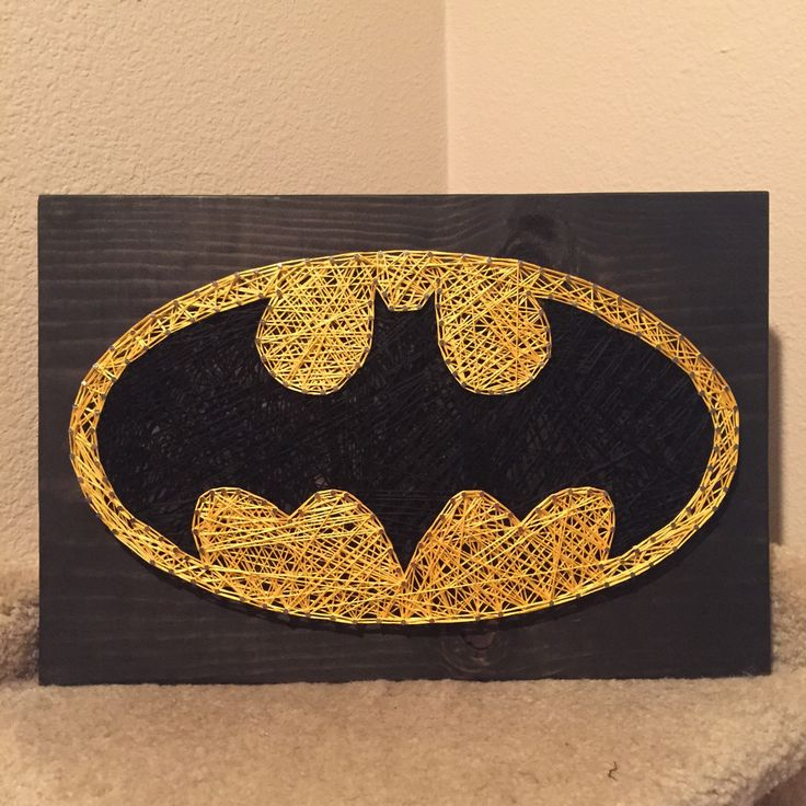 MADE TO ORDER - Batman String Art Sign by StringsbySamantha on Etsy https://www.etsy.com/listing/208312424/made-to-order-batman-string-art-sign