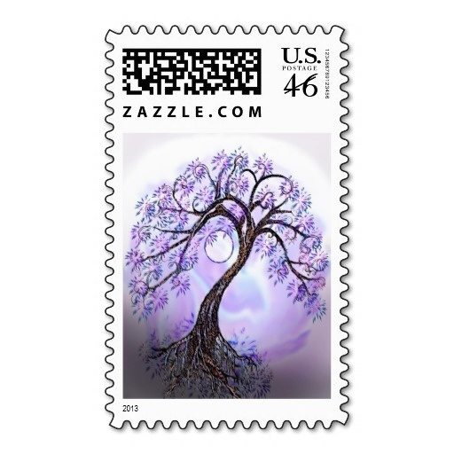 Lavendar Tree of Life Postage Stamp