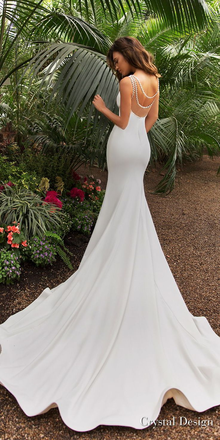 crystal design 2018 sleeveless deep v neck simple clean fit and flare wedding dress sheer back chapel train (candle) bv -- Crystal Design 2018 Wedding Dresses
