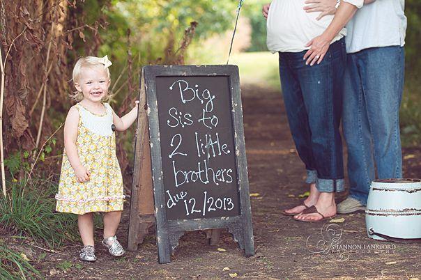 gender reveal, twins boys, toddler big sister girl outdoor