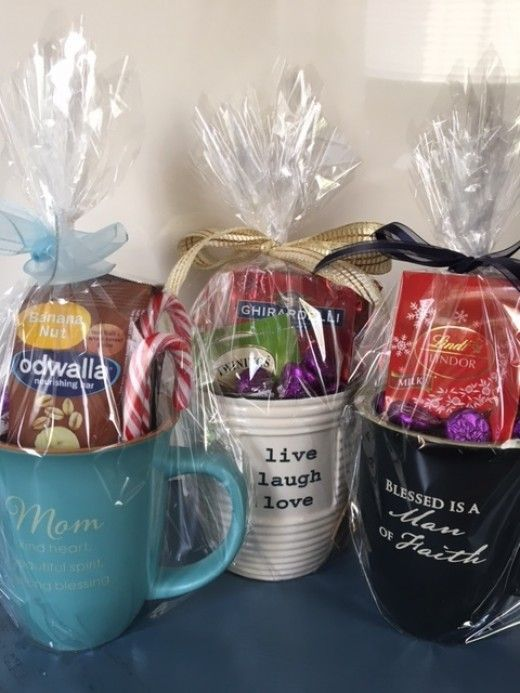 Gift mugs filled with chocolates, teas or healthy snacks make great gifts for men or women.
