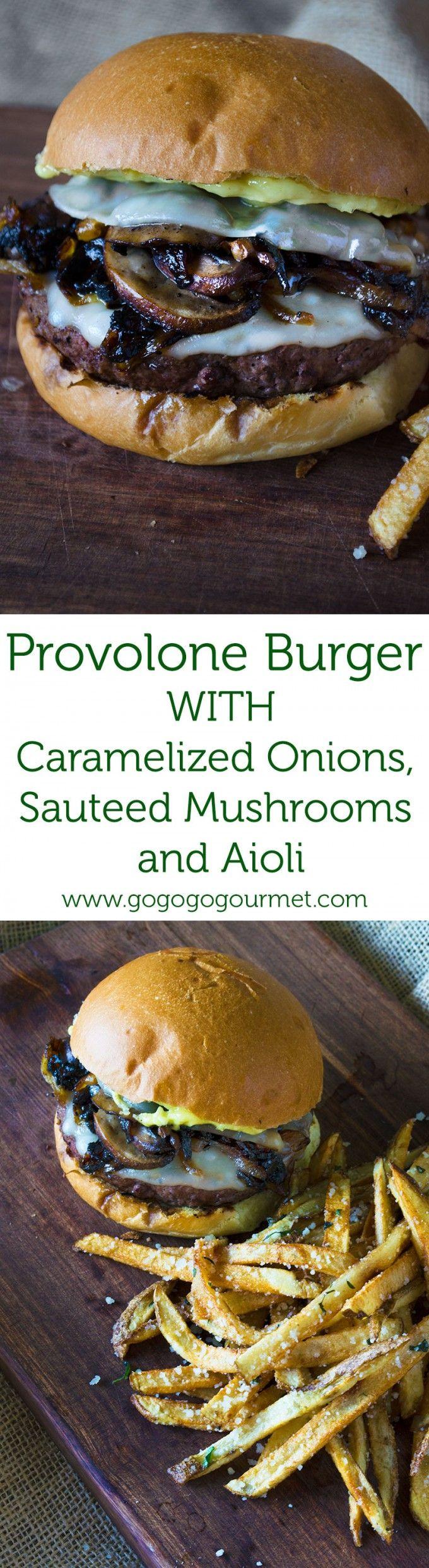 Mushroom Burger with Provolone, Caramelized Onions and Aioli via @gogogogourmet