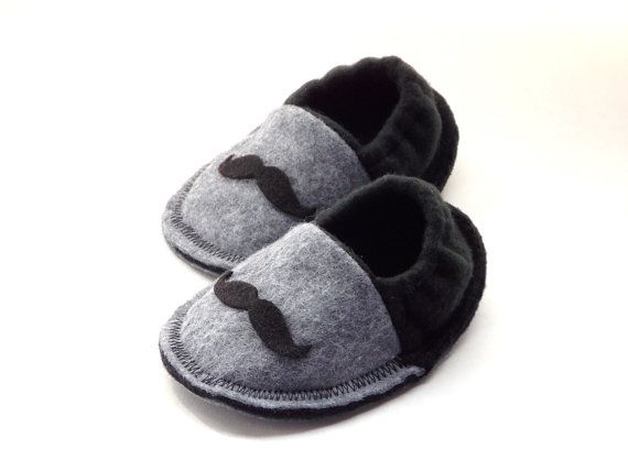 Infant Crib Shoes Baby Mustache Slippers Baby by MoJosCozyToes, $29.00