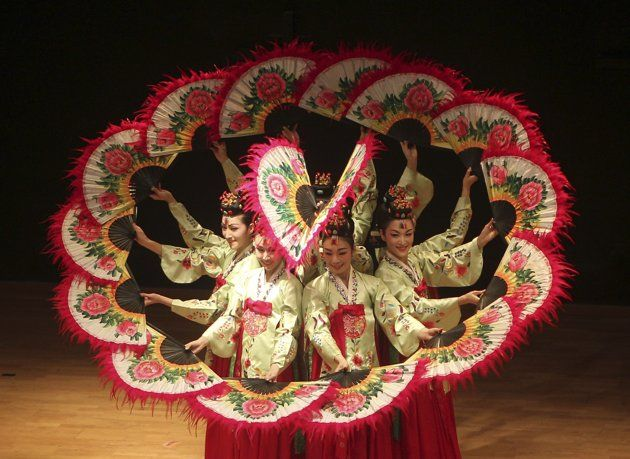 South Korean group performs traditional Korean dance during 50th anniversary of diplomatic relations between Jordan and Korea in Amman