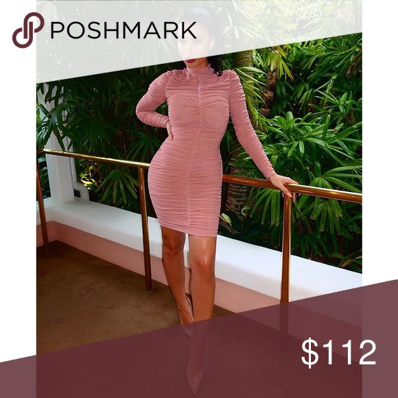 Ruched Mesh Bodycon Dress #689 Neutral perfection is here. Made from an exquisite soft stretch mesh, features long sleeves, a beautiful ruched effect and shorter skirt length. Made from Stretch Mesh. Rumor Apparel Dresses