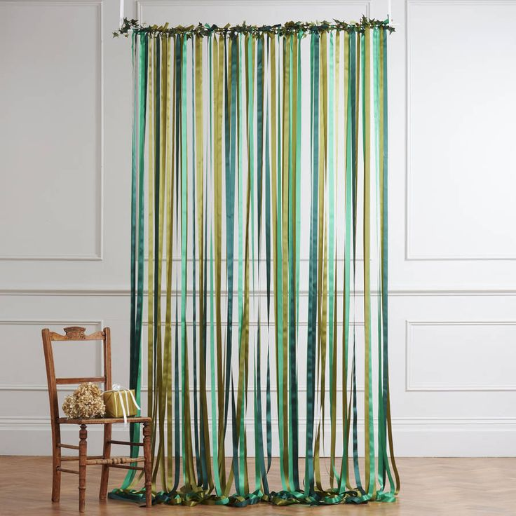 ready to hang ribbon curtain backdrop woodland greens by just add a dress | notonthehighstreet.com