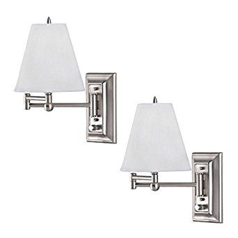 2 pack brushed nickel wall mount swing arm reading bedside lamp bedroom light amazon bedside lighting wall mounted