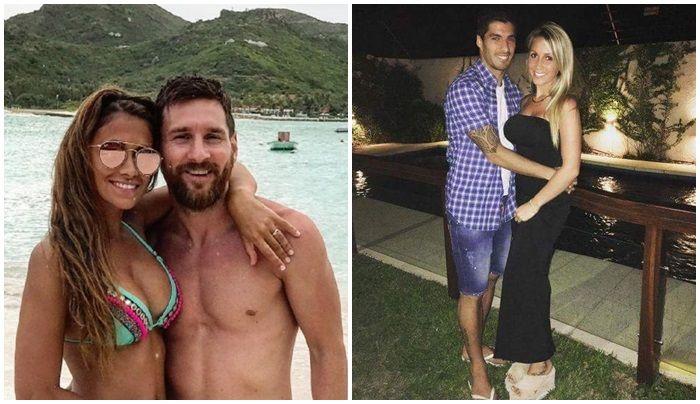 Lionel Messi, Luis Suárez, Antonella Rocuzzo y Sofía Balbi, al estilo Maluma. ¡Felices los cuatro!