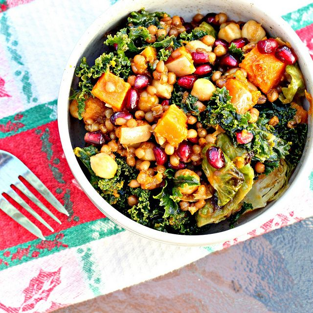 Garlic-Roasted Butternut Squash and Kale Wheatberry Salad with Pomegranate