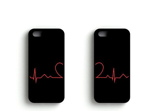 Matching Heart Cardiogram Couple Cases iPhone by CoastalRoomDecor