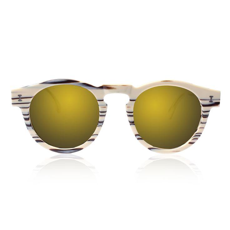 Leonard Eco Cream Marble with Gold Mirrored Lenses | illesteva