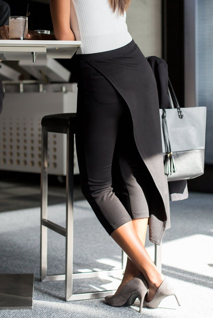The Sassiest Pants Black Cropped Pants With Skirt