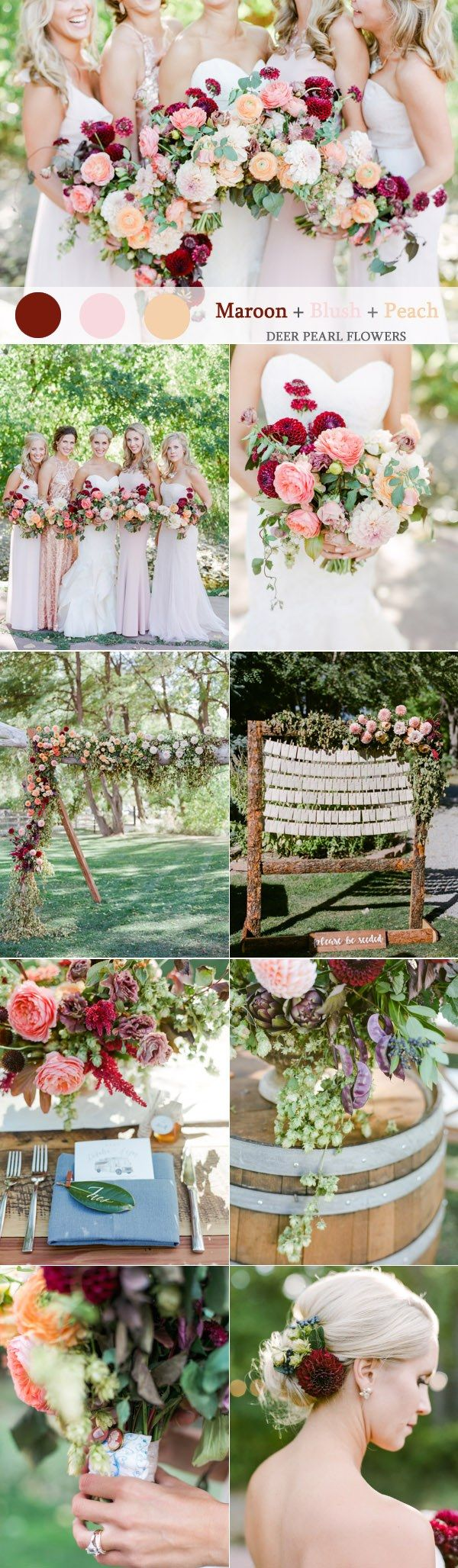 Maroon blush and peach wedding color ideas  / http://www.deerpearlflowers.com/maroon-wedding-color-combos/