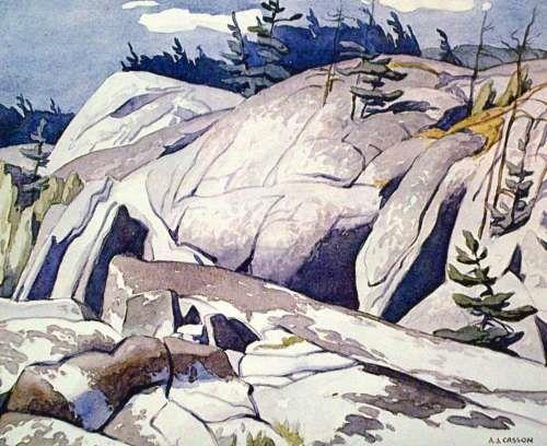 A.J. Casson Rock Study #LandscapePaintings