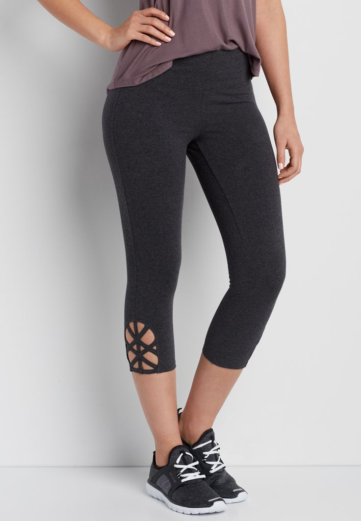 yoga capri legging with strappy hem (original price, $24.00) available at #Maurices