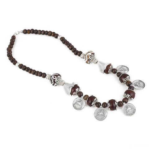 Brown Color Brass Necklace Set - GCN1050