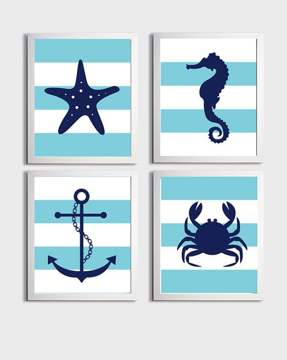 Nursery Art Stripes Nautical Beach Ocean Sea Aqua Navy more colors available set of 4 each 8x10 on Etsy, $48.00