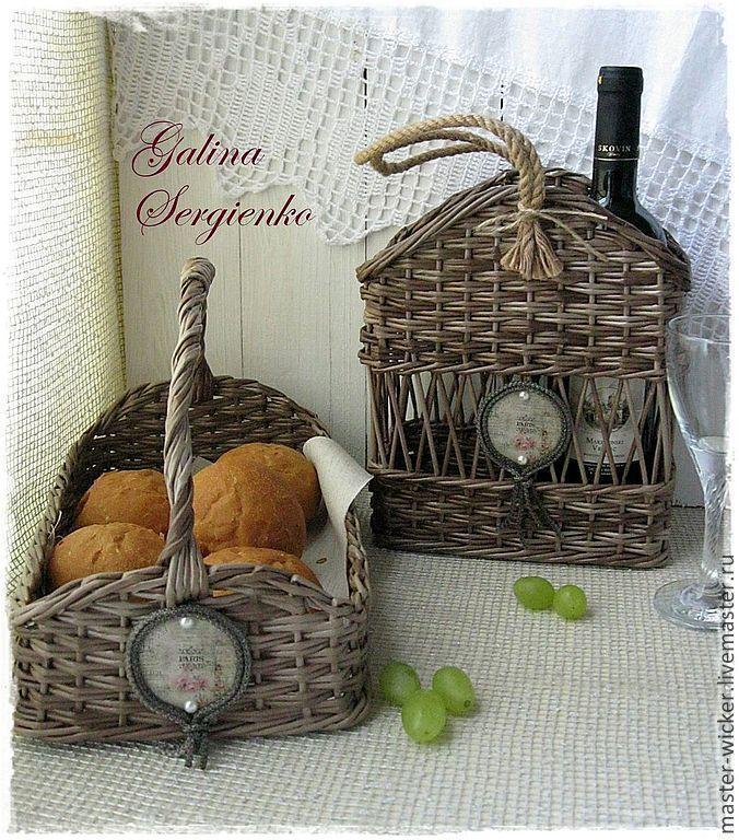 """Купить Плетеный набор """"Париж.Кафе-шантан"""" - темно-серый, короб для вина, плетеный короб"""