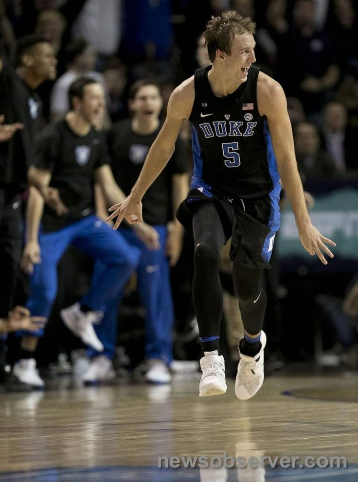 Duke's Luke Kennard (5) reacts after sinking a three point basket in the second half against North Carolina during the ACC Tournament semi-final game on Friday, March 10, 2017 at the Barclays Center in Brooklyn, N.Y.