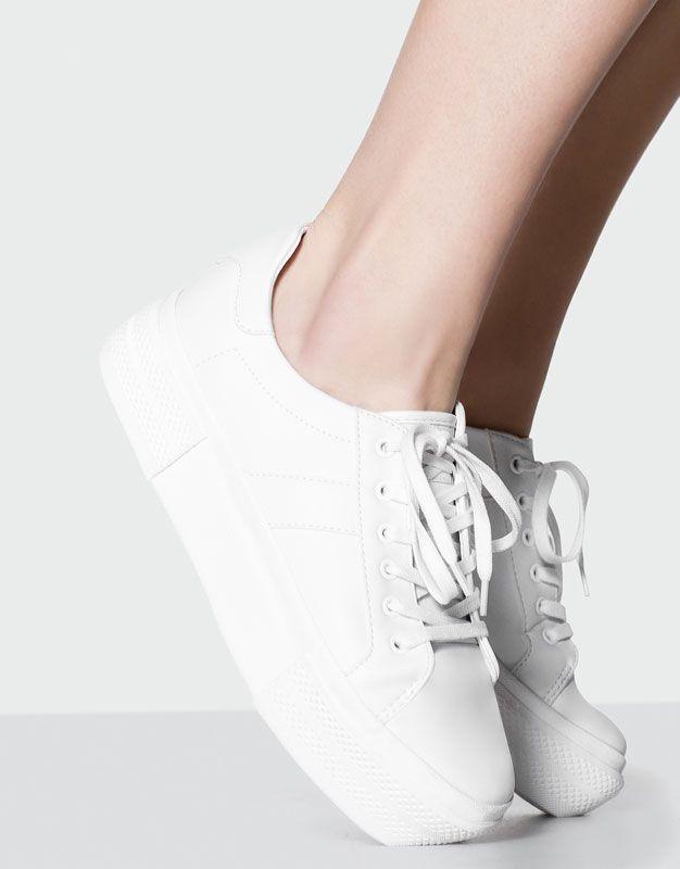 Pull&Bear - mujer - calzado - ver todo - bamba bloque moda - blanco - 11565211-V2017