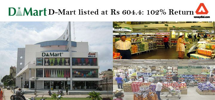 D-Mart listed at Rs. 604.4 on the Bombay Stock Exchange, up 102 percent over issue price of Rs. 299.