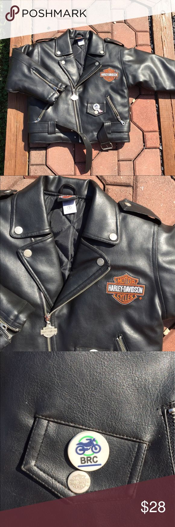 Harley Davidson Youth Faux Leather Jacket Boys  7 Boys size 7. Faux leather. Pin pictured included. Be sure to view the other items in our closet. We offer  women's, Mens and kids items in a variety of sizes. Bundle and save!! Thank you for viewing our item!! Harley-Davidson Jackets & Coats