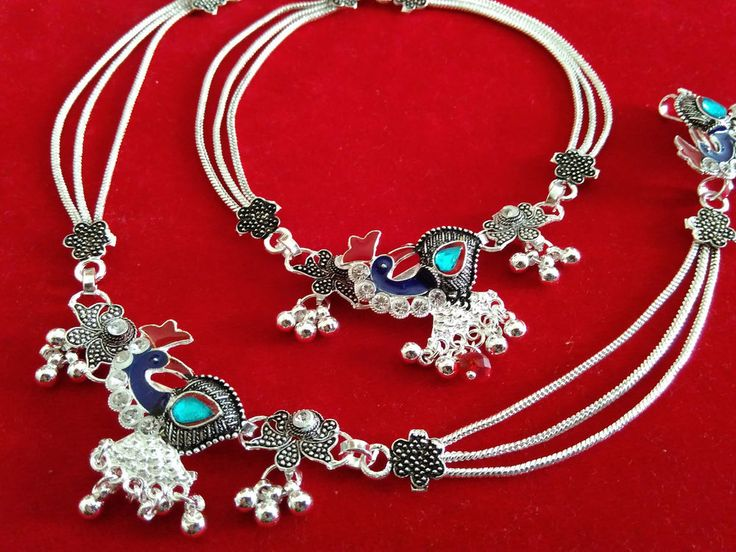 Silver Tone Traditional CZ Anklet Indian Ankle Chain Bracelet Foot Payal Jewelry #panassh