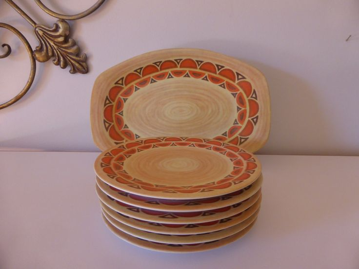 Great 70s design! *FaB* Bessemer plate and set of 6 small plates by DoozyCollectibles on Etsy