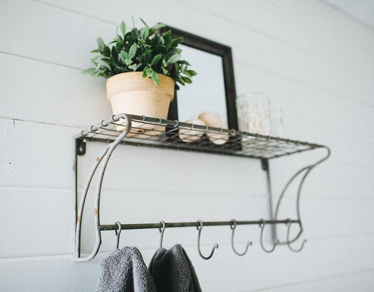 "Wire Wall Shelf with Hooks 24""~Coat Rack~Mud Room~Vintage Style Farmhouse #Unbranded #Country"