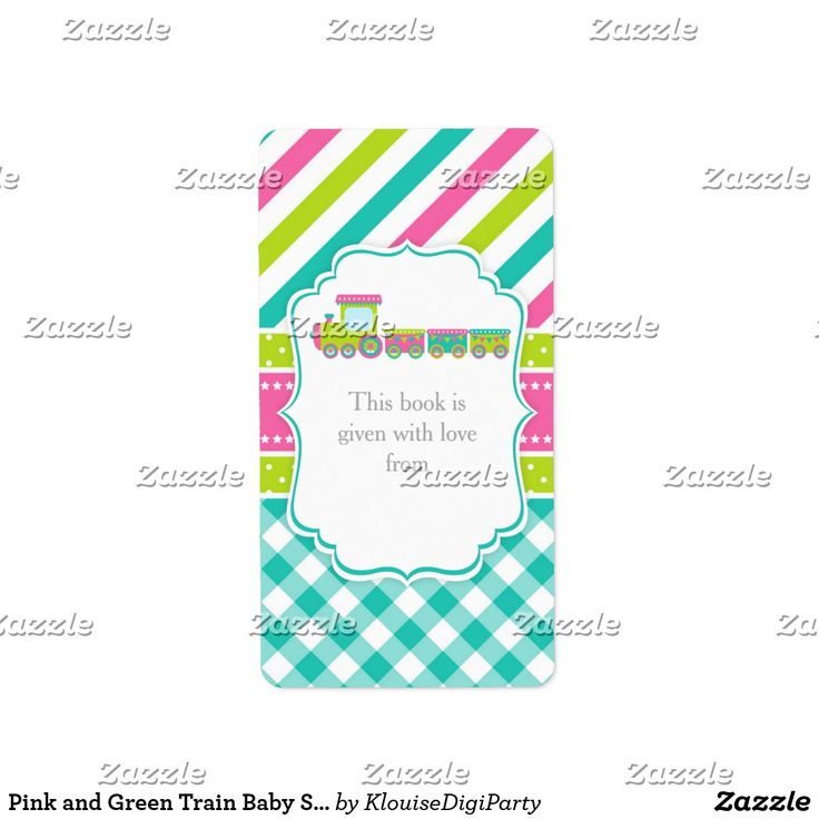 Pink and Green Train Baby Shower Bookplate