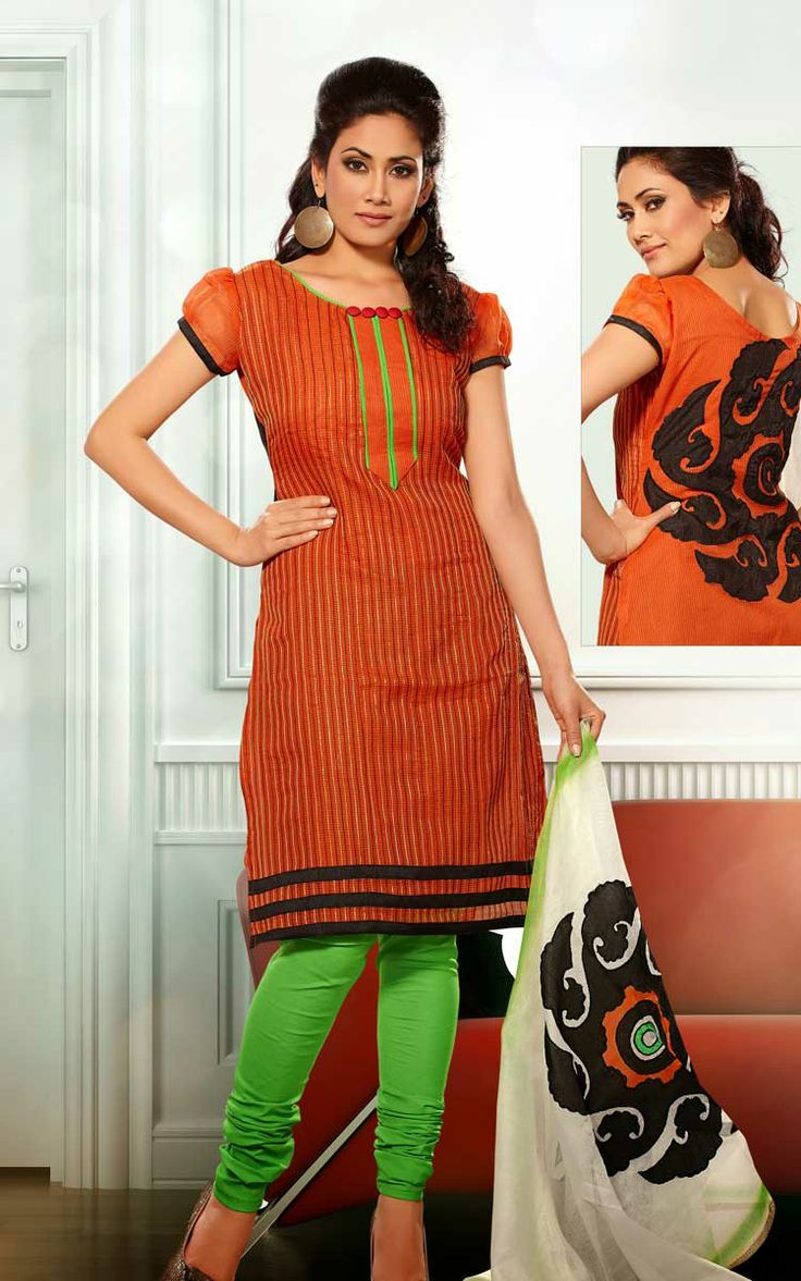 ORANGE & GREEN CHANDERI COTTON SALWAR KAMEEZ - RUD 33006C