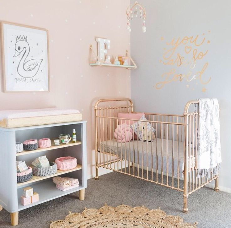 Interior Design Elegant Pink White Gray Baby Girl Room: Rose Gold, Gold And Roses