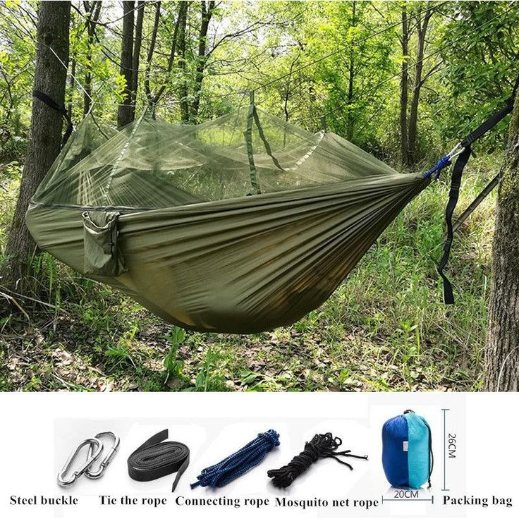 2016 High Quality Portable High Strength Parachute Fabric Camping Hammock Hanging Bed With Mosquito Net Sleeping Hammock - furniturefromchin...