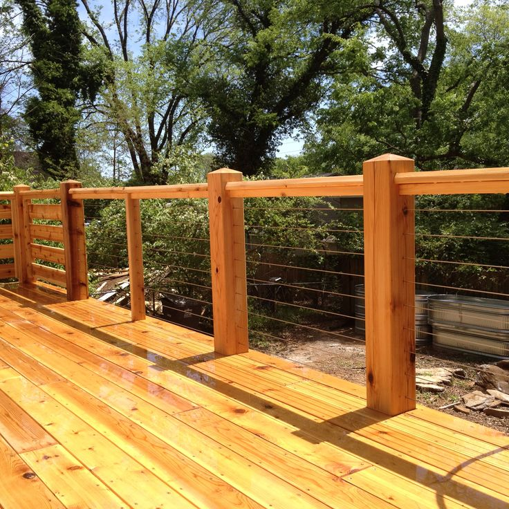 Cedar Deck With Cable Railing Deck Railing Design Decks