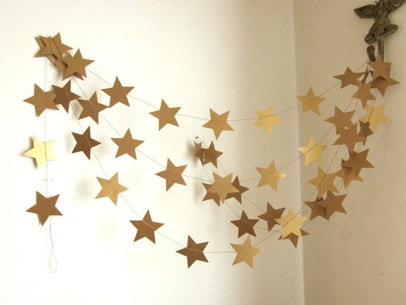 Antique Gold Stars Garland - Party Garland - New Years Garland - Christmas Garland - Custom Colors #EasyNip