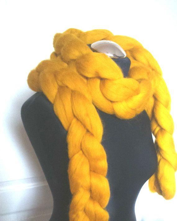 Chunky Knit Scarf Merino Wool Yellow Wool Blanket by Merrisson