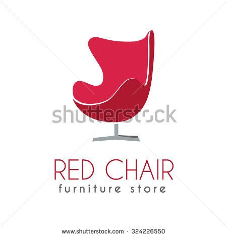 Red Chair Business sign vector template for furniture store, home decor boutique, furniture design. Egg shape chair silhouette icon. Corporate web site element. Sample text. Layered editable design