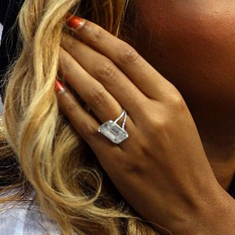 Beyoncé's Engagement Ring /  Brides: Our Favorite Celebrity Engagement Rings | Wedding Dresses & Style | Brides.com / photo Getty Images