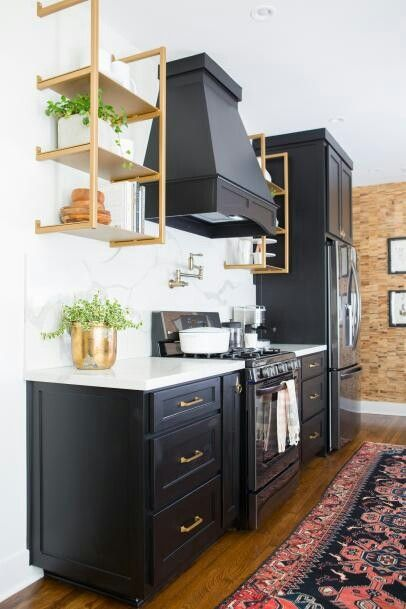Check Out This Fixer Upper Transformation Into A Chic Modern Kitchen Dark Blue Black Cabinets With Gold Accent Shelving And Green Plants