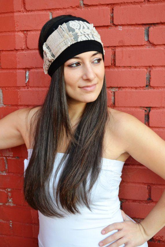 Black Jersey Turban With Beige Cotton Lace Headband by HeavensShop, €14.50
