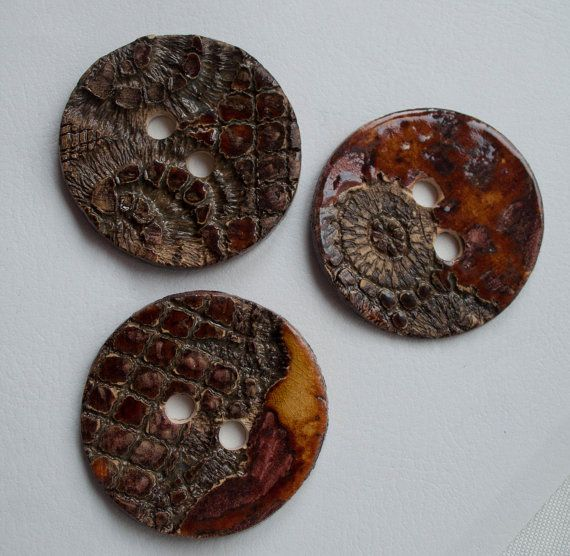 3 ceramic buttons red fire stone earth both side by ClayLadyArt