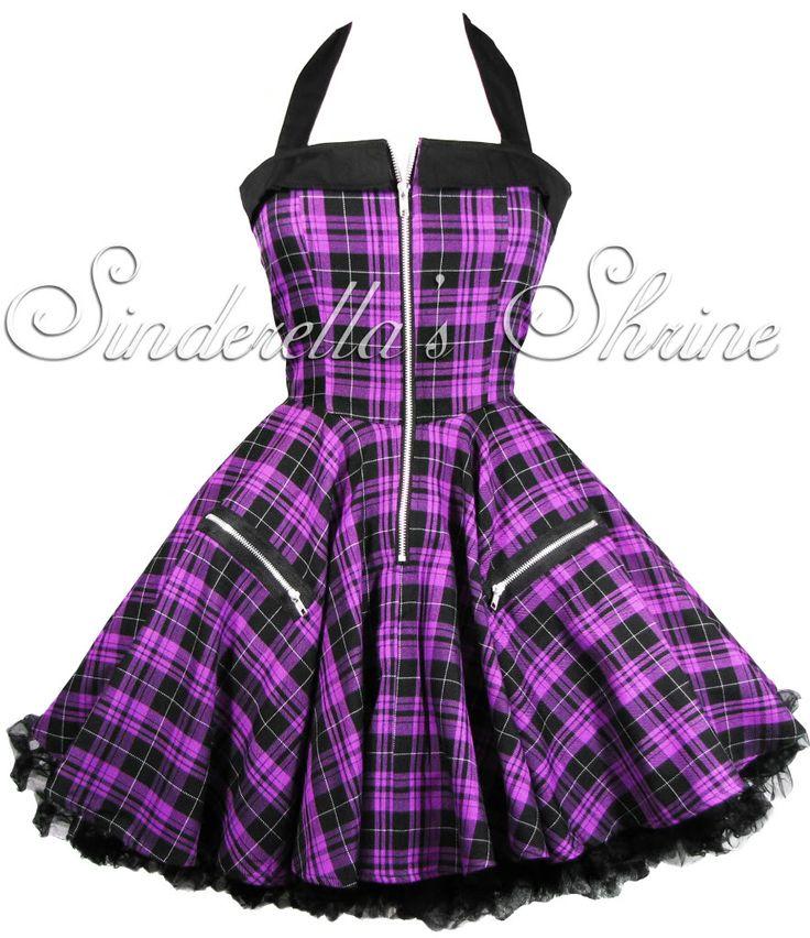 HELL BUNNY 2011 ~ZiPPeR~ Purple Tartan Punk Dress  Would be a great formal Dress if I go