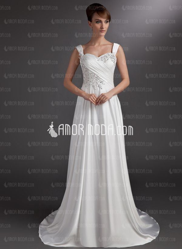 A-Line/Princess Sweetheart Court Train Charmeuse Wedding Dress With Ruffle Lace Beadwork (002016735). $191  http://www.amormoda.com/A-line-Princess-Sweetheart-Court-Train-Charmeuse-Wedding-Dress-With-Ruffle-Lace-Beadwork-002016735-g16735
