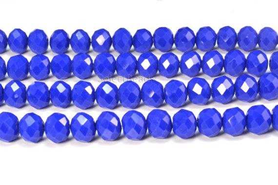 royal blue glass quartz beads - blue faceted rondelle beads - jewelry craft supplies wholesale - crystal glass beads wholesale -15inch