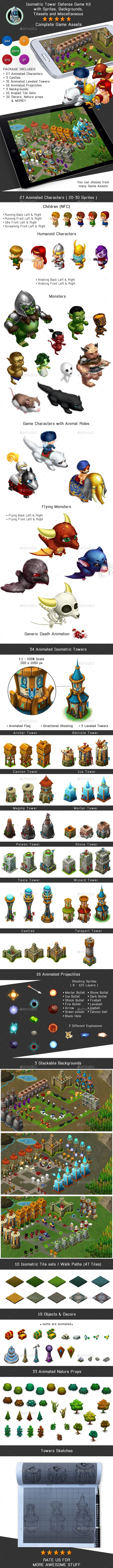 #Isometric #Tower Defense #Game Kit Pack - #Sprites, #Backgrounds - Game Kits Game #Assets Download here: https://graphicriver.net/item/isometric-tower-defense-game-kit-pack-sprites-backgrounds/16958247?ref=alena994