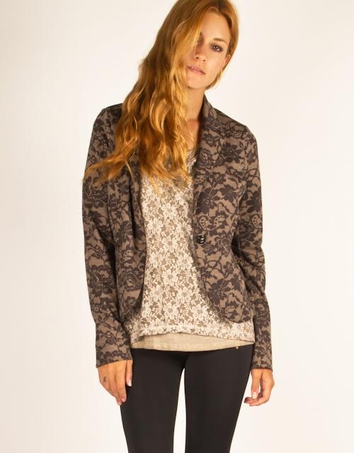 Long sleeve jacket in lace print with button closure. #fashion #womensfashion #lace #lacejacket #toimoi #toimoifashion