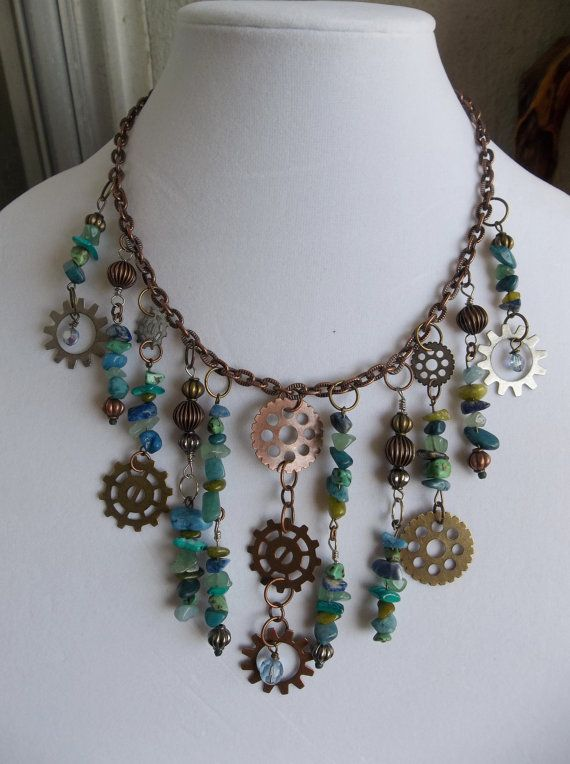 Steampunk Inspired Mixed metal Gear Gemstone Chip ...