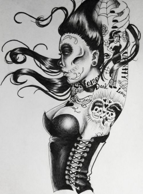Pin Up Girl; Day Of the Dead style
