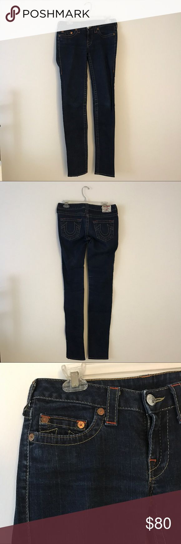 True Religion True Religion super skinny denim long jeans. Stella style. Size 28. Dark denim. In very good condition. No signs of wear or tear. No trades please. For sale only. Thank you and happy shopping! True Religion Jeans Skinny